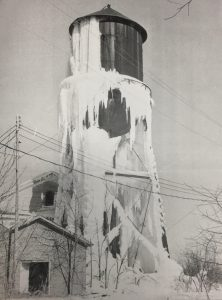 A water tank on the top of Jewell Ridge, 1970, creates a picturesque winter scene.
